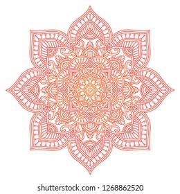 Mandala. Ethnic round ornament. Hand drawn indian motif. Mehendi meditation yoga henna theme. Unique red fiery floral print