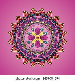 mandala floral decoration ethnic design pink background vector illustration