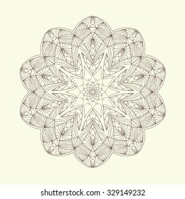Mandala. Floral ethnic abstract decorative elements. Hand drawn background. Islamic, arabic, indian, zentangle, tribal, african motif. Texture for coloring page, tattoo, mehendi, print, card, t-shirt.