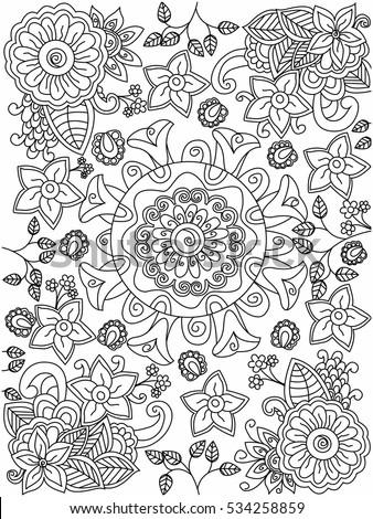 Mandala Flower Coloring Book Adults Vector Stock Vector Royalty