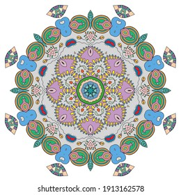 Mandala flower decoration, hand drawn round ornament, isolated design element on a white background. Vector geometric floral pattern. Tribal ethnic fashion motif for paper, textile, cloth fabric print