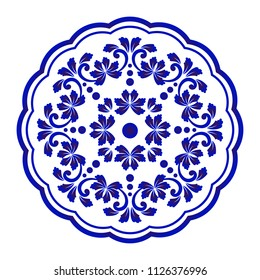 Mandala flower Pattern, Circular Chinaware pattern, Blue and white ornamental round, Decorative art frame, Abstract vector floral ornamental round, porcelain design vector illustration