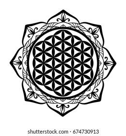 Sacred Geometry Mandala Black White Images Stock Photos Vectors