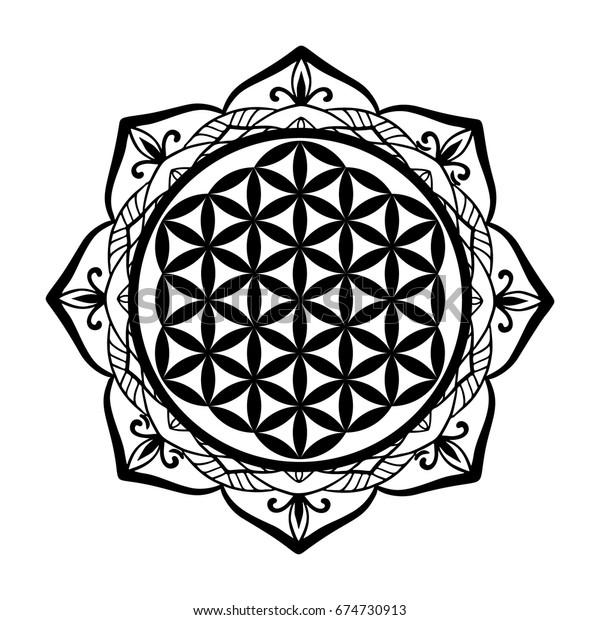Mandala Frame Flower Life Tattoo Stencil Stock Vector Royalty Free