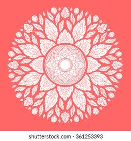 Mandala, geometric pattern symbol of the universe, chakra yoga meditation, hand drawn design, vector illustration, flower floral leaf nature concept
