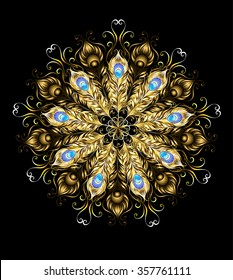 Mandala of gold peacock feathers, decorated with turquoise on black background.
