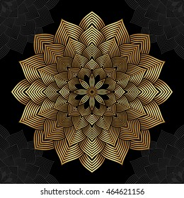 Mandala. Gold round ornament pattern on black background.