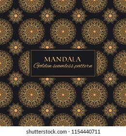 Mandala golden vector seamless pattern. Luxury geometric texture. Black and gold ornate premiun background for fabrics, design and decor