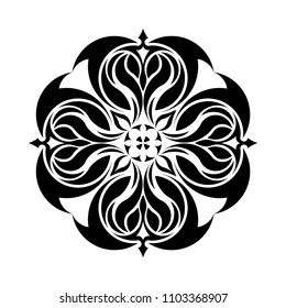 Mandala graphic vector. Abstract design round black on white background. Design print for symbol, sign, decorative, pattern, textile, background, wallpaper. Set 1