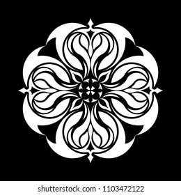 Mandala graphic vector. Abstract design round black on white background. Design print for symbol, sign, decorative, pattern, textile, background, wallpaper. Set 2