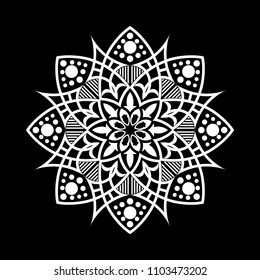 Mandala graphic vector. Abstract lace design round black on white background. Design print for symbol, sign, decorative, pattern, textile, background, wallpaper. Set 2