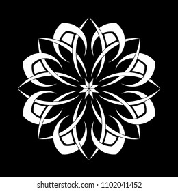Mandala graphic vector. Abstract polar design white on black background. Design print for illustration, pattern, texture, symbol, icon, element, card. Set 1