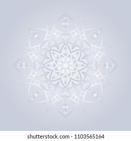 Mandala graphic vector. Abstract snow flake design round gradient grey on grey background. Design print for symbol, sign, decorative, pattern, textile, background, wallpaper. Set 5