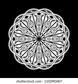 Mandala graphic vector. Design eyes round white on black background. Design print for symbol, pattern, icon, wallpaper, background