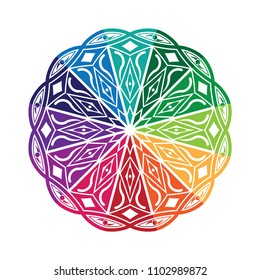 Mandala graphic vector. Design eyes round colorful on white background. Design print for symbol, pattern, icon, wallpaper, background