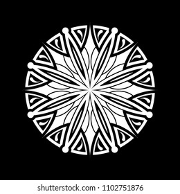 Mandala graphic vector. Design round white on black background. Design print for symbol, pattern, icon, wallpaper, background. Set 2