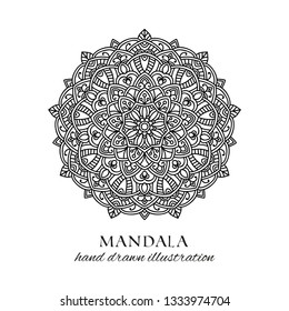 Mandala hand drawn vector illustration. Black and white anti stress decorative ethnic ornament. Geometric ornate design element