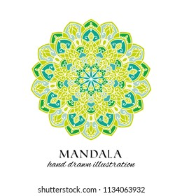 Mandala hand drawn vector isolated illustration. Green and blue decorative ethnic ornament on white background. Oriental design element
