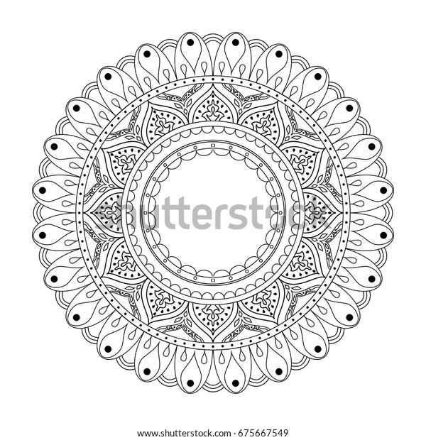 Mandala Hand Drawn Zentangle Image Backgrounds Stock Vector Royalty