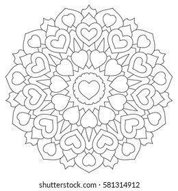 Mandala with hearts. Coloring book Page for adults