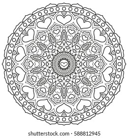 Mandala with hearts for coloring book page. Circular symmetrical ornament.