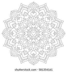 Mandala with hearts for coloring. Circular symmetrical pattern