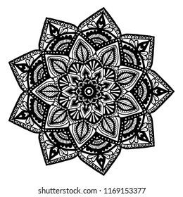 Mandala for Henna,tattoo, decoration,Flower,Vintage decorative elements. Oriental pattern, vector illustration,Coloring book page.