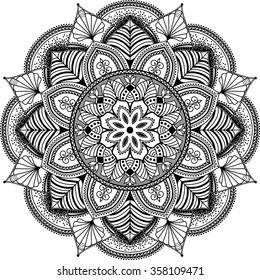 mandala, highly detailed zentangle inspired illustration, ethnic tribal tattoo motive, black and white
