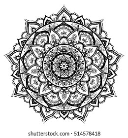 Mandala, highly detailed zentangle inspired illustration, ethnic tribal tattoo motive, black in on white isolated background. Adult coloring book page. Anti-stress illustration.