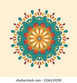Mandala illustration, colorful design. Flower Mandala. Printable package decorative elements. Oriental, mystic, alchemy pattern. Vector illustration