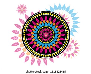Mandala and illustration of dream catcher. Vector. Beautiful vector for page design. Book cover.