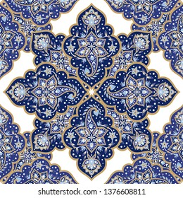 Mandala indian paisley pattern vector seamless. Floral arabesque medallion print. Ethnic vintage flower background. Luxury oriental design for scarf fabric, curtain, wallpaper, blanket, rug, bedlinen.