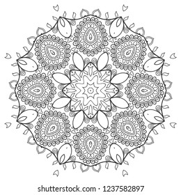 Mandala isolated design element, geometric line pattern. Stylized floral round ornament. Zen doodle art, monochrome sketch for coloring book page, textile fabric print. Black and white illustration