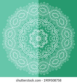Mandala isolated design element, geometric line pattern. Stylized floral round ornament. Doodle art for textile fabric or paper print. Lace background. Hand drawn vector illustration