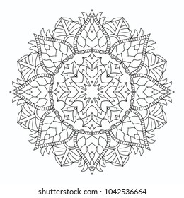 Mandala isolated on white. Round decorative ornament. Coloring book is anti-stress.