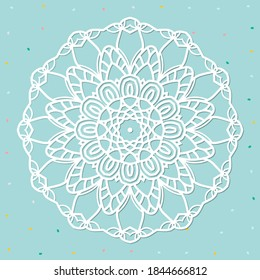 Mandala, lace paper doily, embossed pattern, 3D, round element. Paper cut out design, laser cut template. Vintage lace doily with border. Floral round napkin for your design.