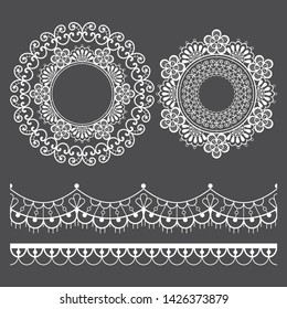 Mandala lace vector pattern and horizontal long lace design set, vintage round design with flowers and swirls in white on gray background. Beautiful retro lace backgrounds collection, retro decoration