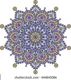Mandala in light blue, light purple & orange. Hindu mandala medallion. Oriental mandala rosette pattern. Ethnic mandala print. Mural mandala decor. Indian mandala decal. Floral lotus shape mandala.