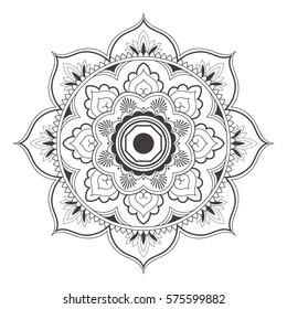 Mandala line art for anti-stress coloring book. Decorative flower round ornament. For Yoga print design,meditation poster,stickers,apparel.