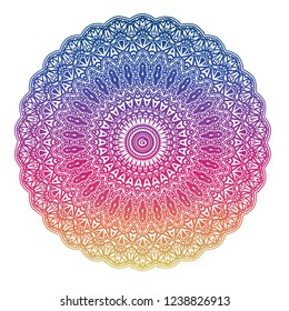 Mandala in linear African style. Abstract ethnic round vector ornament. Holiday design, cover, poster, tattoo, decorated, brochure flyer