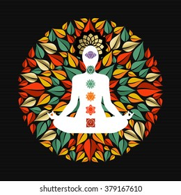 Mandala made of tree leaves with body silhouette doing yoga lotus pose and chakra icons. EPS10 vector.