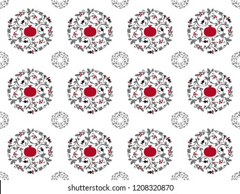 Mandala / medallion / ornament of pomegranate fruits, branches and seeds. Seamless vector pattern.