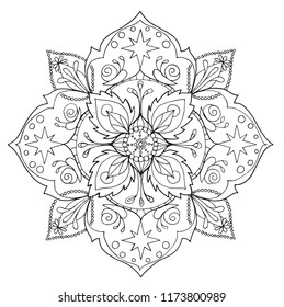 mandala in mehendi style. contour drawing for creativity. printing on clothes