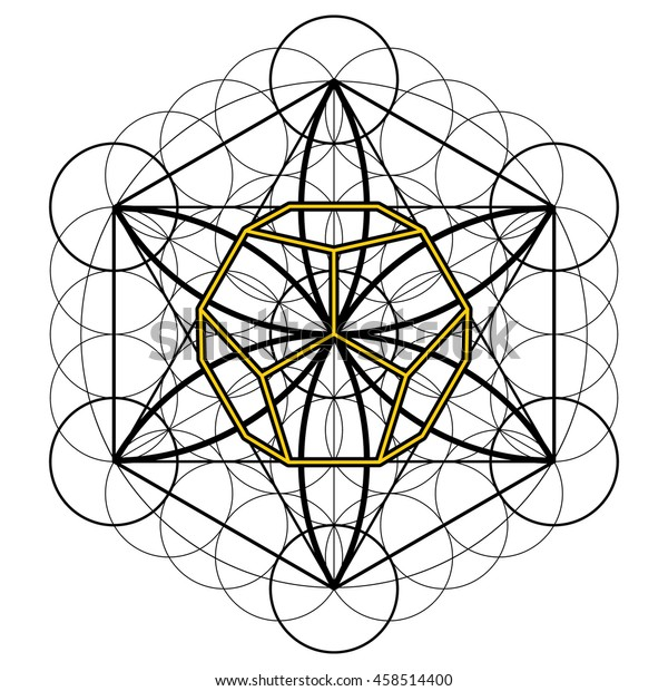 Mandala Metatron Cube Flower Life Vector Stock Vector