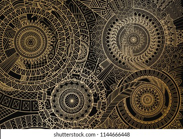 Mandala movement in golden lines on black background. Vector illustration