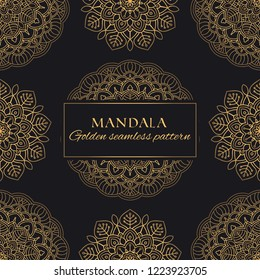 Mandala oriental vector seamless pattern. Luxury ornate background with golden round elements on black background. Premium texture for prints and decor