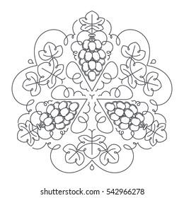 Mandala ornament of grape fruit and leaves