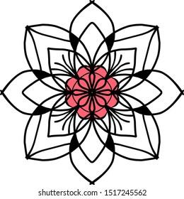 Mandala. Ornamental round doodle flower isolated on white background. Geometric circle element. Vector illustration.