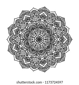 Mandala, Ornate Circular Mandala Design, Black and White Line Art, Indian Henna tattoo pattern or background, Coloring Book.