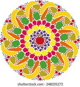 Mandala out of colorful fruits and vegetables. Isolated vector illustration on white background.